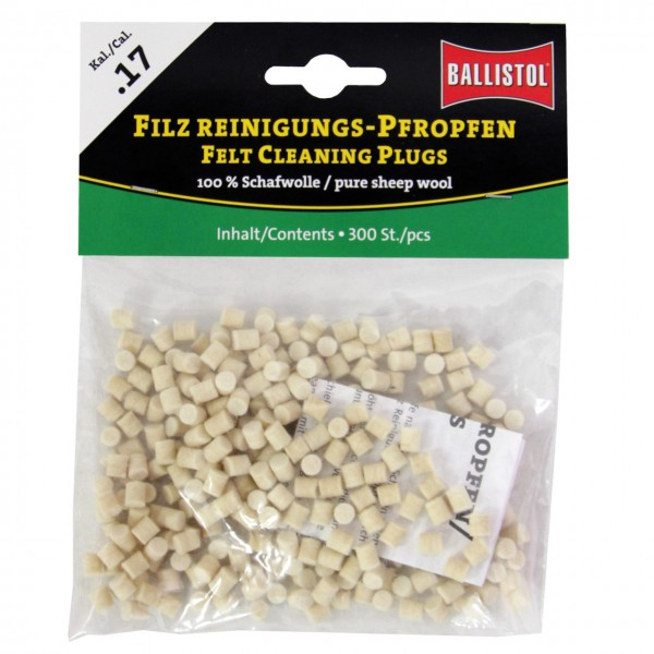 Ballistol Filz Reinigungs-Pfropfen Klassik Kal. .17 - 300 Stück