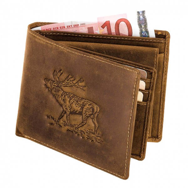 Geldbörse im Querformat mit Hirschprägung aus robustem Antikleder