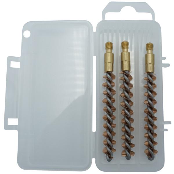 3er-Bronzebürstenset für Kaliber 7,62 mm / .30 mit M5-Außengewinde in der Aufbewahrungsbox