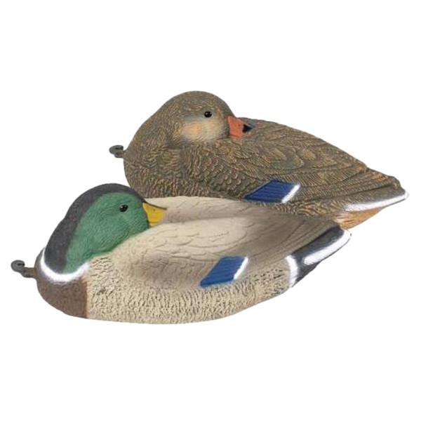 Lockvogel Ente mit Kopf im Gefieder aus Kunststoff - 40 cm