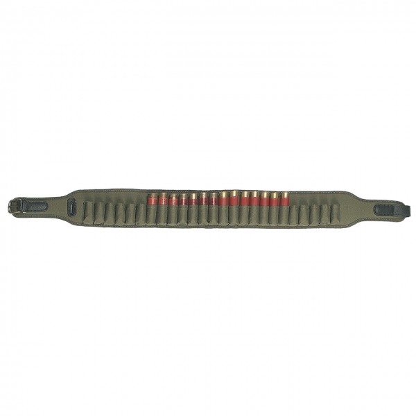 Patronengürtel aus Nylongewebe in grün für Kaliber 12 + 16 Schrot - geschlossen für 25 Patronen