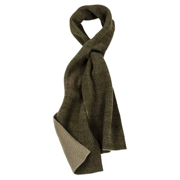 Fleece-Schal zweiseitig aus Polyester in grün mit Knopfloch