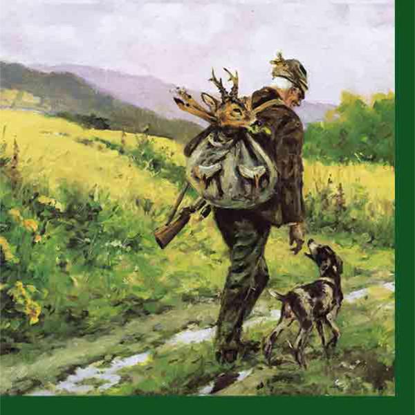 3-lagige Servietten Jäger mit Hund - 20 Stück - 33 x 33 cm