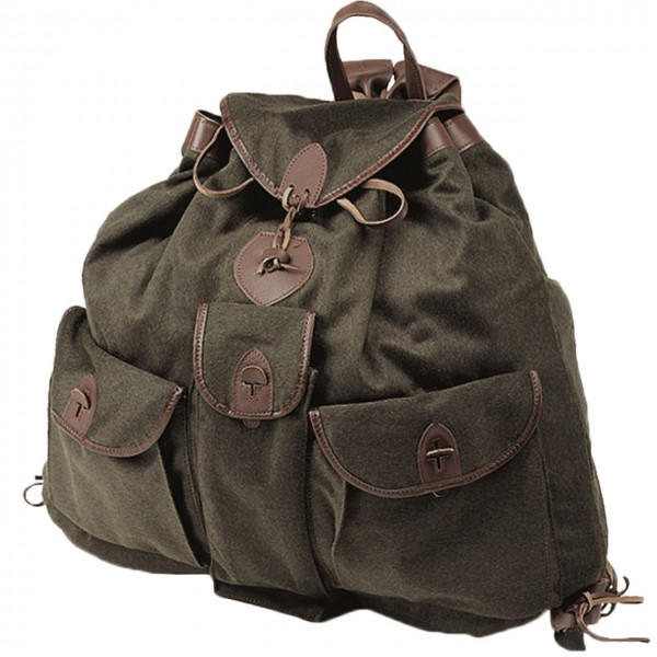 Loden Rucksack lautlos ohne Metall mit drei Außentaschen