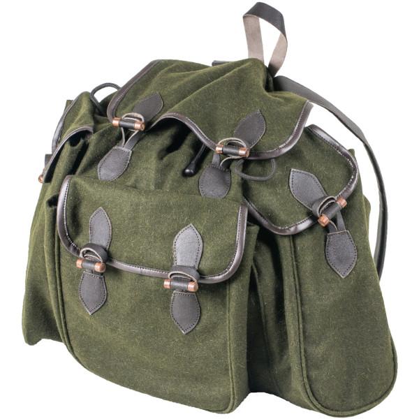 Lautloser Jagdrucksack aus lodenähnlichen Stoff mit drei Außentaschen und Ledertrageriemen