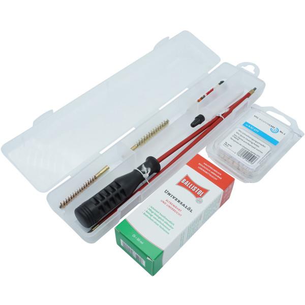 Waffenreinigungsset Kal. 4,5 mm für Luftgewehre in der Kunststoffbox mit Öltube + Ballistol Öl + VFG