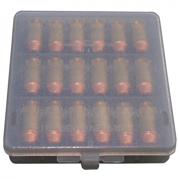 MTM Patronenbox mit Klappdeckel W18-45-41 grau transparent