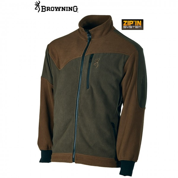 Browning Power Fleece Jacke aus Polyester in grün/braun