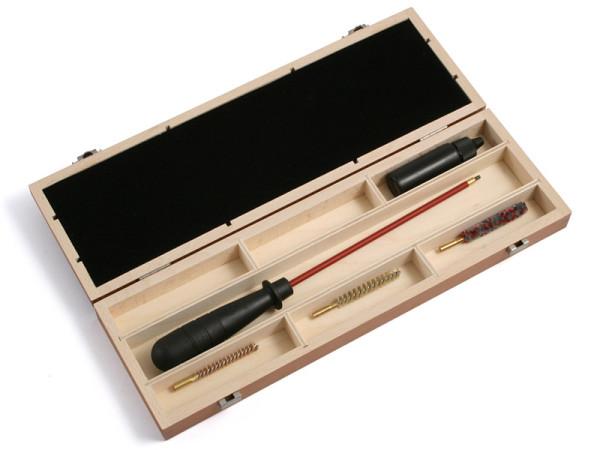 Waffenreinigungsset ab Kaliber 5,56 mm für Kurzwaffen in der Holzkiste