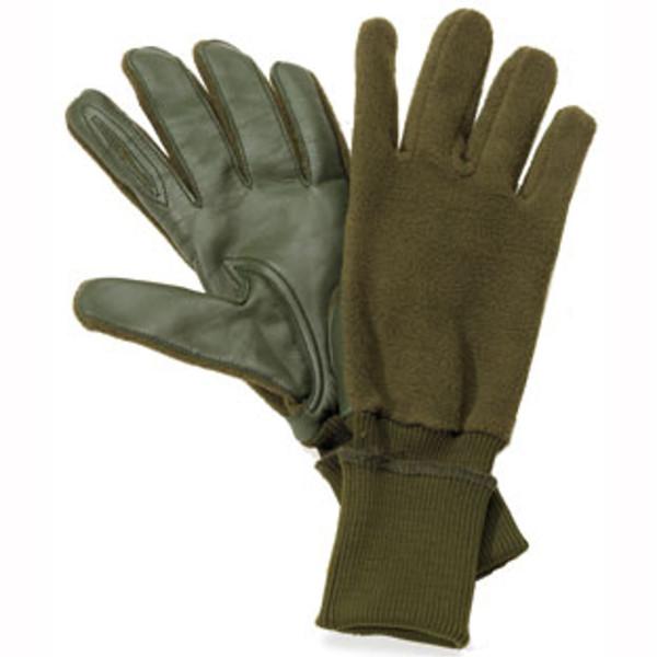 Fingerhandschuhe in grün mit Echtlederinnenhand