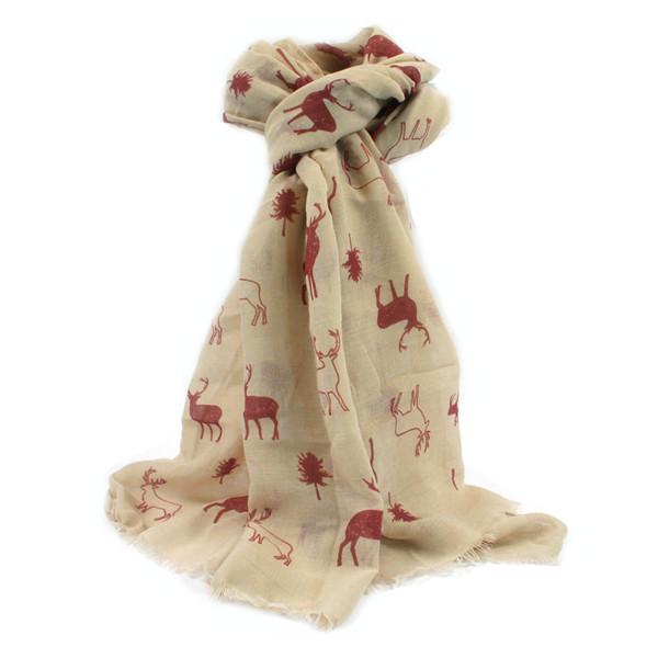 AKAH Jagdlicher Trachtenschal aus Polyester in creme/rot