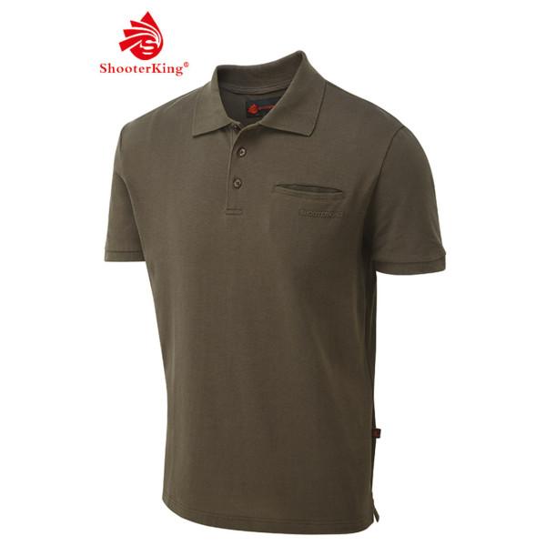 Shooterking Polo Shirt Polohemd Game mit Brusttasche aus Baumwolle in braun NEU