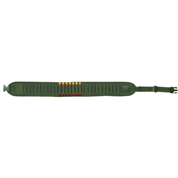 Patronengürtel aus Nylongewebe in grün für Kaliber 12 + 16 Schrot - offen für 20 Patronen