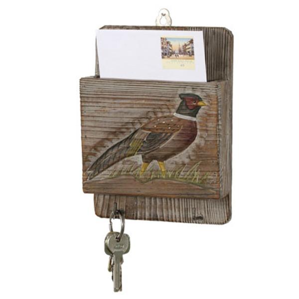 Schlüsselbrett & Zettelkasten aus Holz mit Motiv Fasan