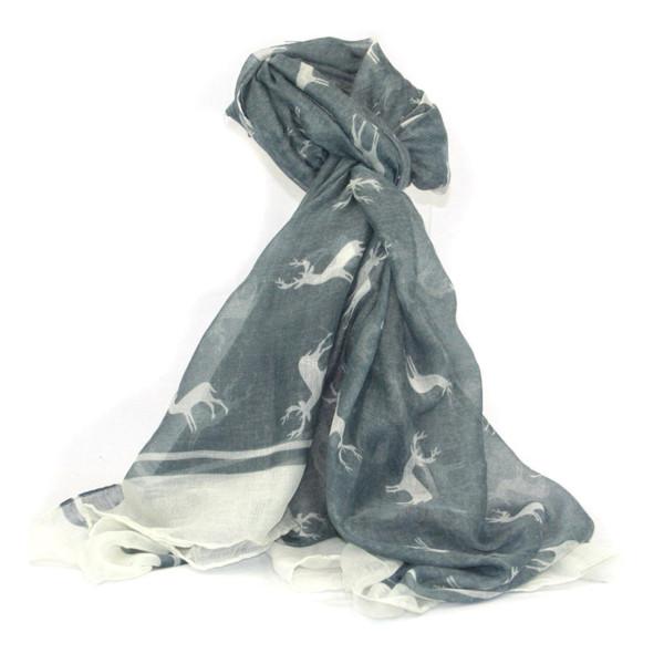 AKAH Jagdlicher Trachtenschal aus Polyester in grau/blau