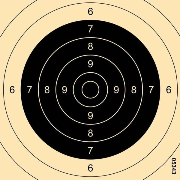 Pistolenspiegel / Präzision / Zielscheibe 25m 26x26 cm