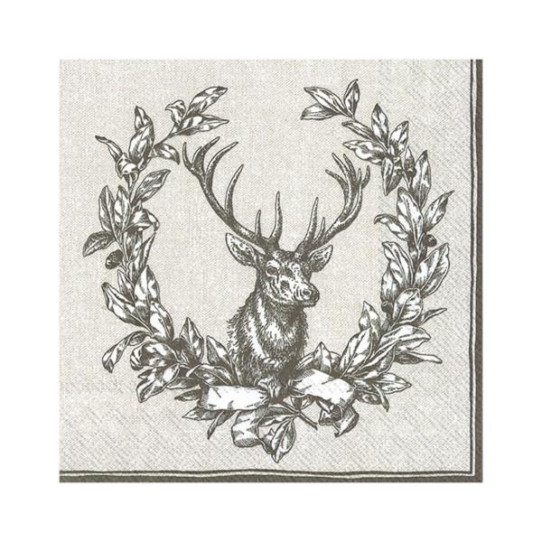 3-lagige Servietten Hirsch braun - 20 Stück - 33 x 33 cm