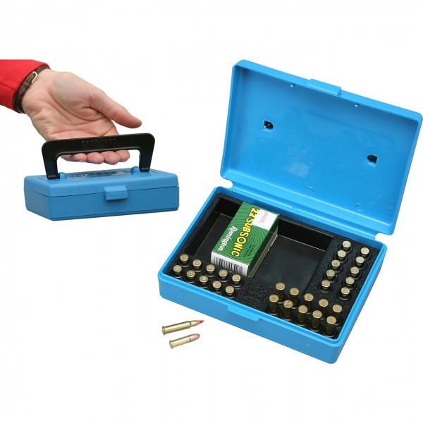 MTM Patronenbox mit Klappdeckel SB-22-20 blau