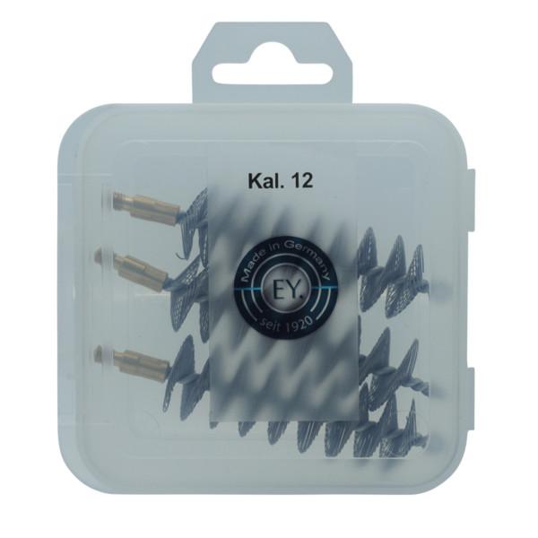3er-Spiraldrahtbürstenset Kaliber Schrot 12 mit M5-Außengewinde in der Aufbewahrungsbox