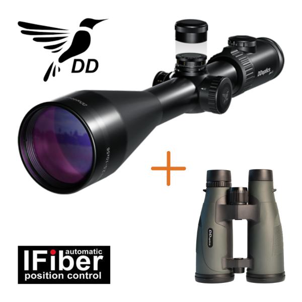 DDoptics Zielfernrohr N-FX V6 2,5-15x50 mit Leuchtabsehen 4 IFiber + Pirschler Fernglas